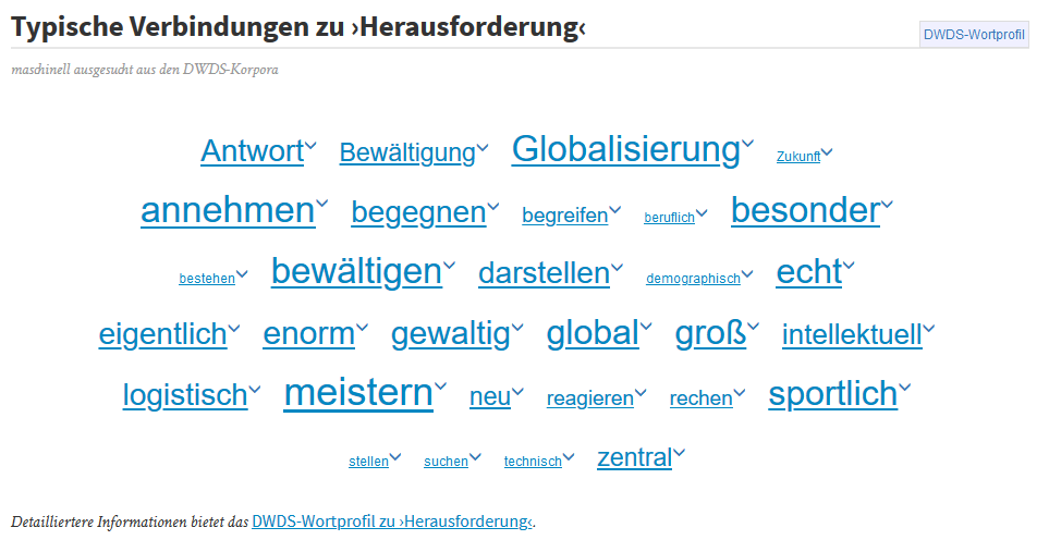 Word Profile for the word Herausforderung